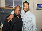 WATERTOWN, CT-042518JS24- George Butler of Waterbury and Styles Marshall, 15, of Waterbury, at the Save Girls on F.Y.E.R. organization's fifth anniversary celebration held at Old Platform 6 in Watertown. <br /> Jim Shannon Republican American