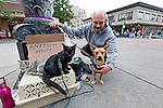 On the corner near Seattle's famous Pike Place Market, a homeless man panhandles. With a dog and two cats, who probably came from animal shelters, he gains companionship not found in his human brethren. Seattle, Washington, USA.