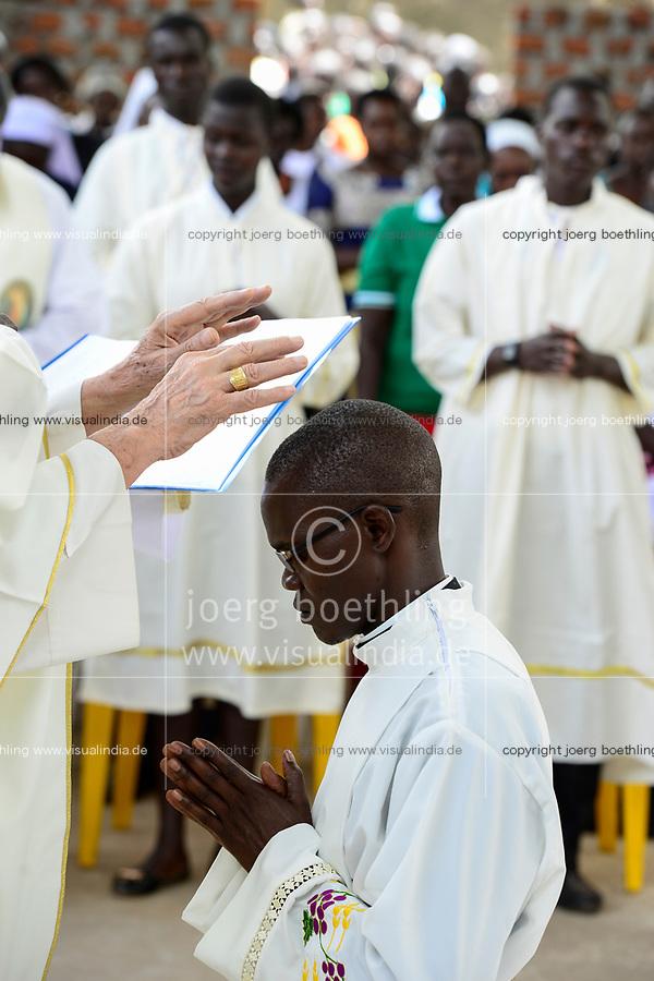 UGANDA, Karamoja, Kaabong, Karamojong tribe, catholic church, holy mass and diakon ordination / katholische Kirche, Gottesdienst und Diakon Weihe