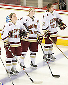 Kristin Regan (BC - 6), Tracy Johnson (BC - 5), Kristina Brown (BC - 2) - The visiting St. Lawrence University Saints defeated the Boston College Eagles 4-0 on Friday, January 15, 2010, at Conte Forum in Chestnut Hill, Massachusetts.