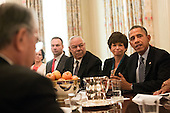 "United States President Barack Obama meets with foundation and business leaders regarding his ""My Brother's Keeper"" initiative, the State Dining Room of the White House, in Washington, Thursday, February 27, 2014. Sitting to the left of President Obama are Senior Advisor Valerie Jarrett and former US Secretary of State Colin Powell. The ""My Brother's Keeper"" initiative seeks to expand opportunity for minority young men. <br /> Credit: Drew Angerer / Pool via CNP"