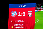 13.03.2019, Allianz Arena, Muenchen, GER, UEFA CL, FC Bayern Muenchen (GER) vs FC Liverpool (GBR) ,Achtelfinale, UEFA regulations prohibit any use of photographs as image sequences and/or quasi-video, im Bild Endstand auf der Anzeigetafel 1-3<br /> <br /> Foto &copy; nordphoto / Straubmeier