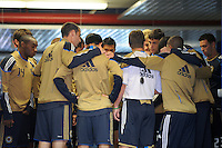 Philadelphia Union coach John Hackworth talks with the team before pre-game warm ups. The New York Red Bulls defeated the Philadelphia Union 2-1 during a Major League Soccer (MLS) match at Red Bull Arena in Harrison, NJ, on April 24, 2010.