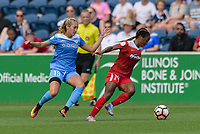 Bridgeview, IL - Saturday June 17, 2017: Summer Green, Francisca Ordega during a regular season National Women's Soccer League (NWSL) match between the Chicago Red Stars and the Washington Spirit at Toyota Park. The match ended in a 1-1 tie.
