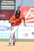Bo Way (12) of the Inland Empire 66ers runs the bases during a game against the Stockton Ports at The Hanger on April 11, 2015 in Lancaster, California. San Jose defeated Lancaster, 8-3. (Larry Goren/Four Seam Images)