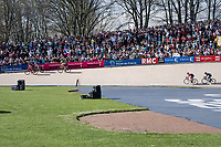 Jasper Stuyven (BEL/Trek-Segafredo) sprints towards the lead group on the legendary Roubaix velodrome with Gianni Moscon (ITA/SKY) in tow in the last lap before the finish<br /> <br /> 115th Paris-Roubaix 2017 (1.UWT)<br /> One Day Race: Compiègne › Roubaix (257km)