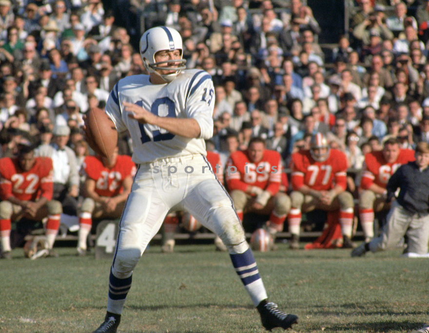 Baltimore Colts Johnny Unitas(19) during a game from his career with the Baltimore Colts. Johnny Unitas played for 18 years with 2 different,  was a 10-time Pro Bowler, 3-time MVP and was inducted to the Pro Football Hall of Fame in 1979.(SportPics)