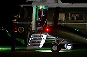 US President Donald J. Trump (C) walks off Marine One on the South Lawn upon his return to the White House, in Washington, DC, USA, 18 October 2019. Trump returns from a trip to Texas.<br /> Credit: Michael Reynolds / Pool via CNP