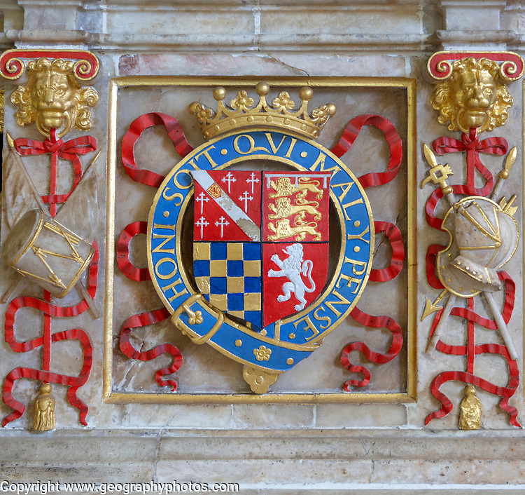 Tomb of Henry Howard, Earl of Surrey, died 1547, Framingham church, Suffolk, England, UK - coat of arms
