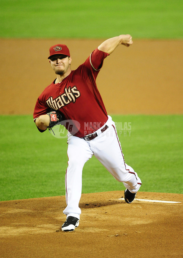 May 9, 2012; Phoenix, AZ, USA; Arizona Diamondbacks pitcher Wade Miley throws in the first inning against the St. Louis Cardinals at Chase Field. Mandatory Credit: Mark J. Rebilas-