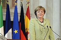 Roma, 22 Giugno 2012.Villa Madama.Vertice quadrilaterale su Eurozona con i leader di Italia, Francia, Germania e spagna.Nella foto,Angela Merkel.