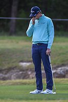 Hudson Swafford (USA) reacts to barely missing his putt on 14  during Round 1 of the Valero Texas Open, AT&amp;T Oaks Course, TPC San Antonio, San Antonio, Texas, USA. 4/19/2018.<br /> Picture: Golffile | Ken Murray<br /> <br /> <br /> All photo usage must carry mandatory copyright credit (&copy; Golffile | Ken Murray)