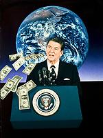 Donald Reagan, ex president usa, photo elaborata 3 transferd colore per concludere questa foto. realizzata in aprile 1985. © Leonardo Cendamo