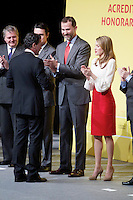 Spain's crown Prince Felipe and Princess Letizia shakes hands with actor Antonio Banderas during a ceremony to designate Spain Brand ambassadors. February 12, 2013. (ALTERPHOTOS/Alvaro Hernandez) /NortePhoto