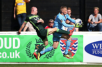 Elliot Justham of Dagenham and Redbridge denies Jason Kennedy of Hartlepool United during Dagenham & Redbridge vs Hartlepool United, Vanarama National League Football at the Chigwell Construction Stadium on 14th September 2019