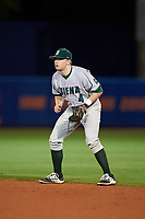 Siena Saints second baseman Jordan Bishop (4) during a game against the Florida Gators on February 16, 2018 at Alfred A. McKethan Stadium in Gainesville, Florida.  Florida defeated Siena 7-1.  (Mike Janes/Four Seam Images)