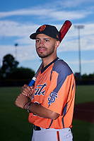 AZL Giants Orange outfielder Najee Gaskins (32) poses for a photo before an Arizona League game against the AZL Giants Black on July 19, 2019 at the San Francisco Giants Baseball Complex in Scottsdale, Arizona. The AZL Giants Black defeated the AZL Giants Orange 8-5. (Zachary Lucy/Four Seam Images)