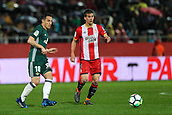 13th April 2018, Estadi Montilivi, Girona, Spain; La Liga football, Girona versus Real Betis; Andres Guardado of Betis passes the ball under pressure from Pere Pons of Girona