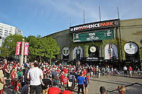 Portland, Oregon - Sunday April 17, 2016: Fans line up to enter the stadium. The Portland Thorns play the Orlando Pride during a regular season NWSL match at Providence Park. The Thorns won 2-1.