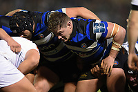 Nick Auterac of Bath Rugby prepares to scrummage against his opposite number. Anglo-Welsh Cup match, between Bath Rugby and Leicester Tigers on November 10, 2017 at the Recreation Ground in Bath, England. Photo by: Patrick Khachfe / Onside Images