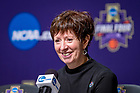 April 1, 2018; Head Women's Basketball Coach Muffet McGraw speaks at the press conference following the 2018 Final Four Championship Game. Notre Dame defeated Mississippi State 61-58. (Photo by Matt Cashore/University of Notre Dame)