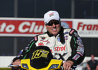 Feb. 14, 2013; Pomona, CA, USA; NHRA funny car driver John Force during qualifying for the Winternationals at Auto Club Raceway at Pomona.. Mandatory Credit: Mark J. Rebilas-