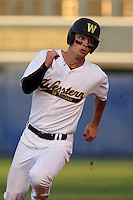 Western Michigan Broncos Jack Scanlon #22 on the base path during a game against the Illinois State Redbirds at Chain of Lakes Stadium on March 10, 2012 in Winter Haven, Florida.  Illinois State defeated Western Michigan 10-9.  (Mike Janes/Four Seam Images)