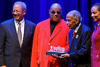 February 26, 2013  (Washington, DC)  Grammy Award winning artist Stevie Wonder is presented with the 2013 Avoice Heritage Distinguished Individual Award at the historic Howard Theatre in D.C. (Photo by Don Baxter/Media Images International)