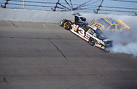 Dale Earnhardt Crash Frame 2..NASCAR Winston Cup Daytona 500 18 Feb.2001 Daytona International Speedway, Daytona Beach,Florida,USA .© F. Peirce Williams .photography 2001...F.Peirce Williams Photography.P.Box 455 Eaton, OH 45320.317.358.7326  fpwp@mac.com