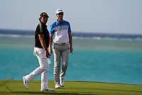 Gavin Green (MAL) and Victor Perez (FRA) on the 17th during Round 3 of the Saudi International at the Royal Greens Golf and Country Club, King Abdullah Economic City, Saudi Arabia. 01/02/2020<br /> Picture: Golffile | Thos Caffrey<br /> <br /> <br /> All photo usage must carry mandatory copyright credit (© Golffile | Thos Caffrey)