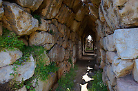 Ancient corbel arch tunnel under the acropolis of Tiryns (  or ) Mycenaean city archaeological site,  Peloponnesos, Greece. A UNESCO World Heritage Site