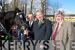 Mike Sweetman, Micha?el O'Muircheartaigh and Sean Counihan deputy Mayor at the Killarney with Black Beauty St Patricks parade on Thursday
