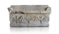 Roman relief sculpted garland sarcophagus with pitched tile sculpted roof, 3rd century AD. Adana Archaeology Museum, Turkey. Against a white background