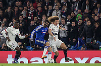 Diego Costa of Chelsea takes the ball from David Luiz of Paris Saint-Germain during the UEFA Champions League Round of 16 2nd leg match between Chelsea and PSG at Stamford Bridge, London, England on 9 March 2016. Photo by Andy Rowland.