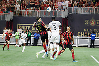 ATLANTA, Georgia - August 27: Franco Escobar #2 and Ike Opara #3 during the 2019 U.S. Open Cup Final between Atlanta United and Minnesota United at Mercedes-Benz Stadium on August 27, 2019 in Atlanta, Georgia.