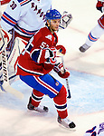 23 January 2010: Montreal Canadiens' left wing forward Benoit Pouliot looks for a shot to deflect during a game against the New York Rangers at the Bell Centre in Montreal, Quebec, Canada. The Canadiens shut out the Rangers 6-0. Mandatory Credit: Ed Wolfstein Photo