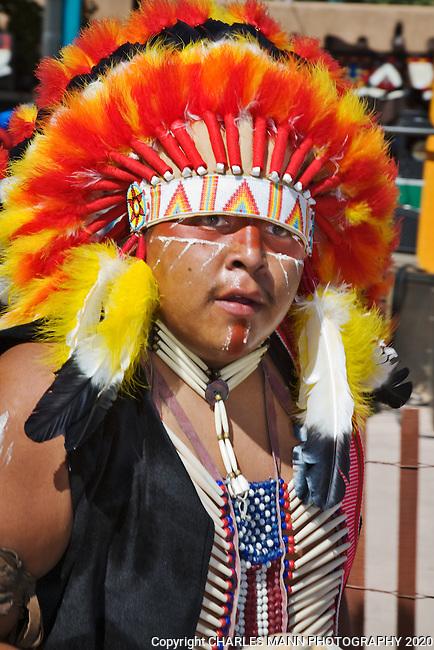 Dancers from Picuris Pueblo near Dixon particiapte in the 2008 Santa Fe Fiesta.