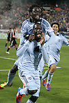 10 March 2012: Kansas City's C.J. Sapong (center) celebrates scoring the game's only goal with Kei Kamara (SLE) (above). Sporting Kansas City defeated DC United 1-0 at RFK Stadium in Washington, DC in a 2012 regular season Major League Soccer game.