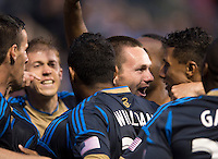 Jack McInerney (9, center) of the Philadelphia Union celebrates his goal with teammates during a Major League Soccer match at PPL Park in Chester, PA.  Philadelphia defeated Chicago, 1-0.
