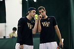 WINSTON-SALEM, NC - JANUARY 23: Wake Forest's Alan Gadjiev (UZB) (left) and Borna Gojo (CRO) (right). The Wake Forest University Demon Deacons hosted Coastal Carolina University on January 23, 2018 at Wake Forest Tennis Complex in Winston-Salem, NC in a Division I College Men's Tennis match. Wake Forest won the match 6-1.