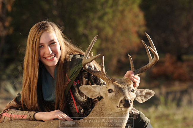 DEER HUNT . 16 year old girl hunting deer at the 5G ranch Stonewall Co Texas.First deer harvested  10 point buck.