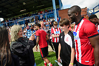 Lincoln City's John Akinde poses for a photograph with fans<br /> <br /> Photographer Chris Vaughan/CameraSport<br /> <br /> Football Pre-Season Friendly (Community Festival of Lincolnshire) - Lincoln City v Lincoln United - Saturday 6th July 2019 - The Martin & Co Arena - Gainsborough<br /> <br /> World Copyright © 2018 CameraSport. All rights reserved. 43 Linden Ave. Countesthorpe. Leicester. England. LE8 5PG - Tel: +44 (0) 116 277 4147 - admin@camerasport.com - www.camerasport.com