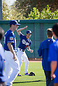 Kenta Maeda (Dodgers),<br /> FEBRUARY 26, 2016 - MLB :<br /> Kenta Maeda of the Los Angeles Dodgers does the MaeKen Taiso during the Los Angeles Dodgers spring training baseball camp at Camelback Ranch in Glendale, Arizona, United States. (Photo by Thomas Anderson/AFLO) (JAPANESE NEWSPAPER OUT)