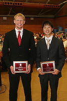 "STANFORD, CA - June 12:  Paul Kornfeld and Sho Nakamori accept their Block ""S"" Outstanding Male Junior awards during the 2008 Athletic Board Award Luncheon at the Ford Center in Stanford, California."