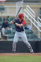 Tyler Cropley (8) of the Hagerstown Suns at bat against the Kannapolis Intimidators at Kannapolis Intimidators Stadium on August 27, 2019 in Kannapolis, North Carolina. The Intimidators defeated the Suns 5-4. (Brian Westerholt/Four Seam Images)