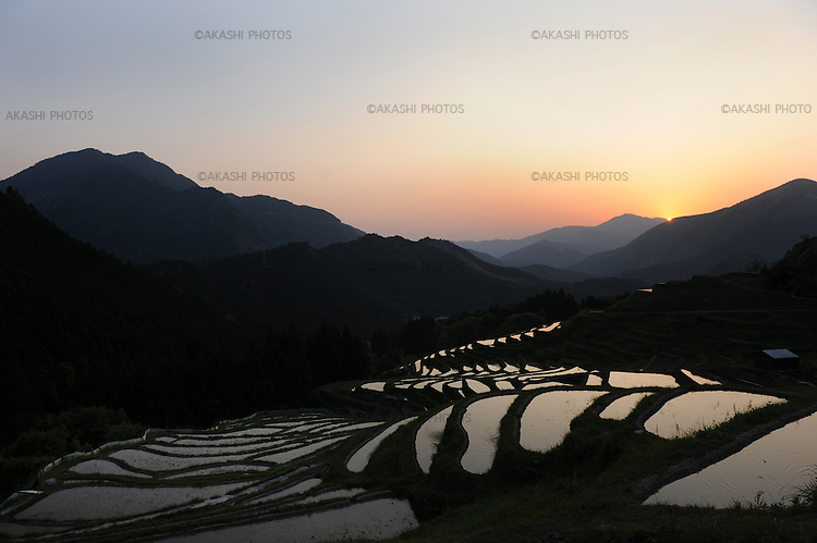 Senmaida (a thousand layers' ricefields) in Maruyama. Mie prefecture. Japan.<br /> <br /> Senmaida (rizières de mille couches) à Maruyama. Mie préfecture. Japon.
