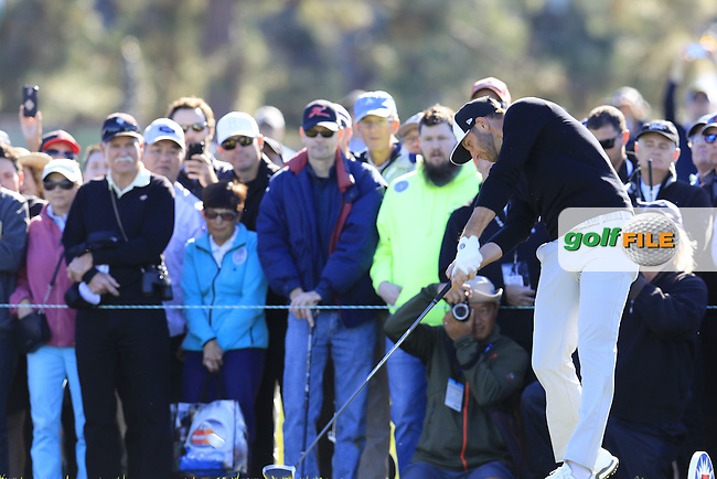 Dustin Johnson (USA) tees off the 13th tee during Friday's Round 2 of the 2017 Farmers Insurance Open held at Torrey Pines Golf Course, La Jolla, San Diego, California, USA.<br /> 27th January 2017.<br /> Picture: Eoin Clarke   Golffile<br /> <br /> <br /> All photos usage must carry mandatory copyright credit (&copy; Golffile   Eoin Clarke)
