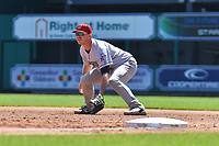 Peter Alonso (16) of the Binghamton Rumble Ponies is set to field a ball during a game against the Hartford Yard Goats at Dunkin Donuts Park on May 9, 2018 in Hartford, Connecticut. (Gregory Vasil/Four Seam Images)