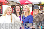 Aine Fitzgerald, Noreen Mangan, Geraldine Mangan and Kerry O'Connor Beaufort checking the odds at the Killarney Races on Sunday