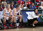 SIOUX FALLS, SD - MARCH 10: Head Coach Amy Williams from the University of South Dakota cheers on her team in the first half of the Summit League Championship Tournament game Tuesday at the Denny Sanford Premier Center in Sioux Falls, SD. (Photo by Dick Carlson/Inertia)
